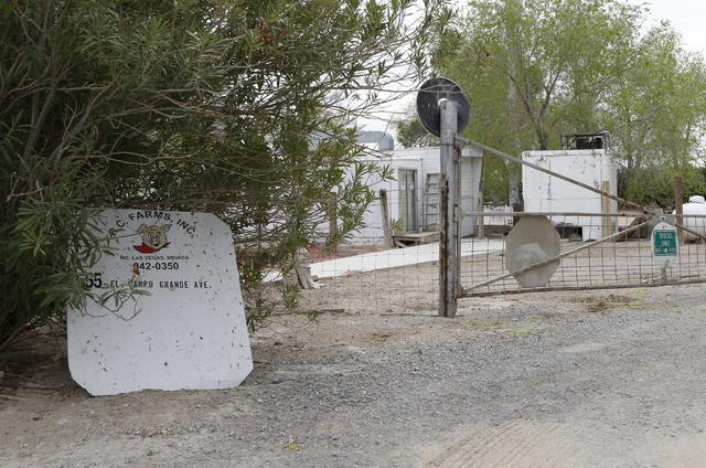 R.C. Farms entrance on 555 E El Campo Grand Ave., is shown Monday, March 7, 2016, in North Las Vegas. (Bizuayehu Tesfaye/Las Vegas Review-Journal Follow @bizutesfaye