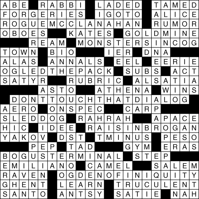 Solution to View's crossword puzzle, March 17, 2016. Click the image for solutions and puzzles.