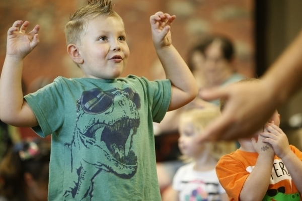 Brennen Nelson gets into the act during story time at the Springs Preserve. ERIK VERDUZCO/file photo