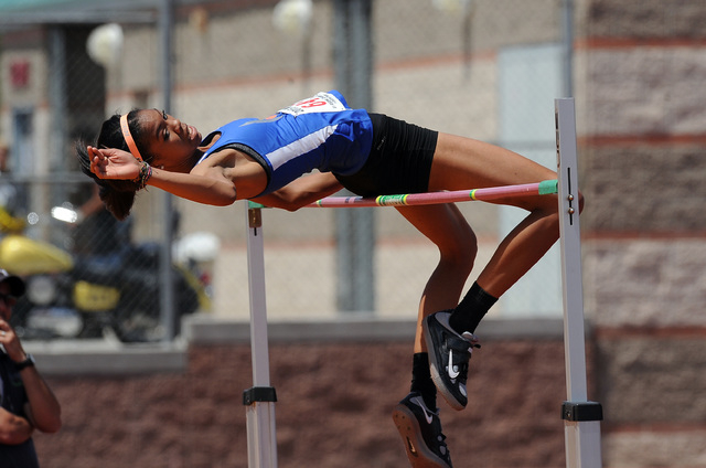 """Vashti Cunningham of Bishop Gorman clears 6' 4"""" during the girl's high jump competition during the NIAA Division I Sunrise and Sunset Region track and field meet at Del Sol High School in ..."""