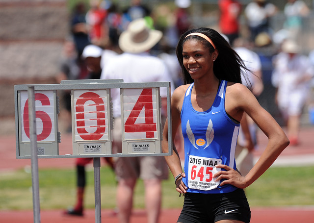 """Vashti Cunningham of Bishop Gorman is seen after clearing 6' 4"""" during the girl's high jump competition during the NIAA Division I Sunrise and Sunset Region track and field meet at Del So ..."""
