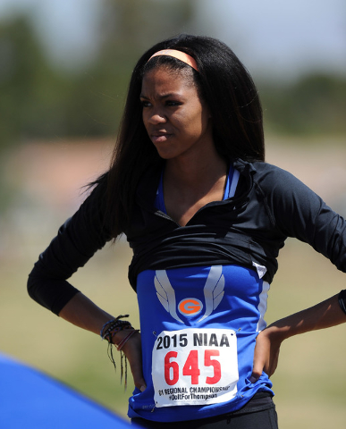 Vashti Cunningham of Bishop Gorman is seen before the start of the Sunset Region girl's high jump competition during the NIAA Division I Sunrise and Sunset Region track and field meet at Del Sol H ...