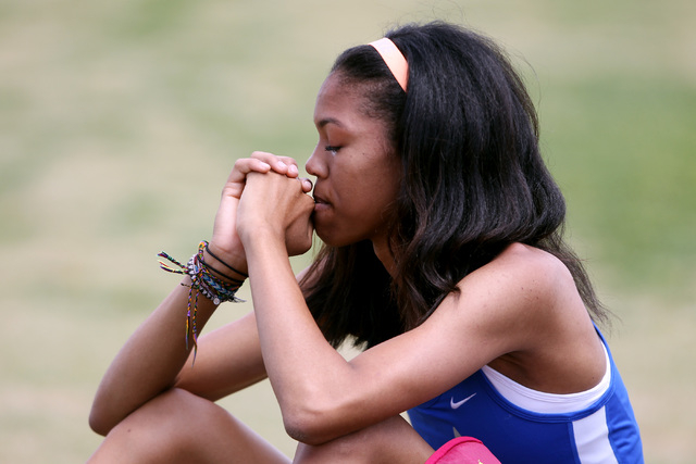 Bishop Gorman's Vashti Cunningham reacts after missing her third attempt at the high jump during the Nevada NIAA state track meet Saturday, May 16, 2015 at Del Sol. (Sam Morris/Las Vegas Review-Jo ...