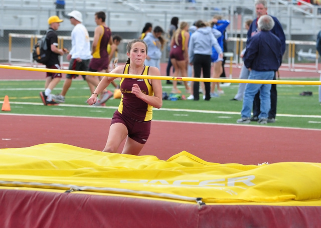 Annabelle Brophy jumping in a meet last year for PVHS. Brophy is the top high jumper for the Trojans this year with her best this year being 4-8.  Horace Langford Jr. / Pahrump Valley Times