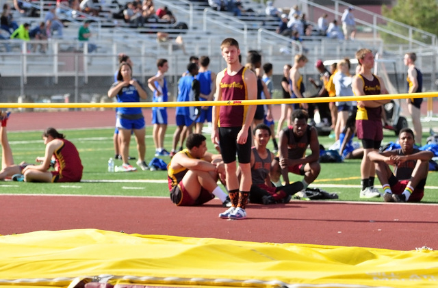 Horace Langford Jr / Pahrump Valley Times - PVHS Track, Boy's High Jump Jeremy Albertson