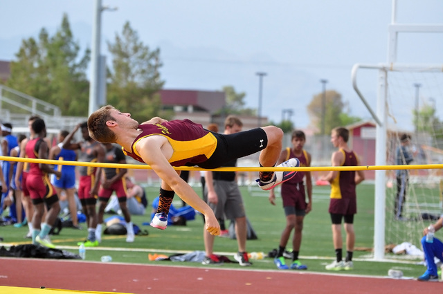 Nico Cipollini jumps in a meet last year. He is the best pole vaulter this year and should do around 12 by the end of the year.  Horace Langford Jr. / Pahrump Valley Times