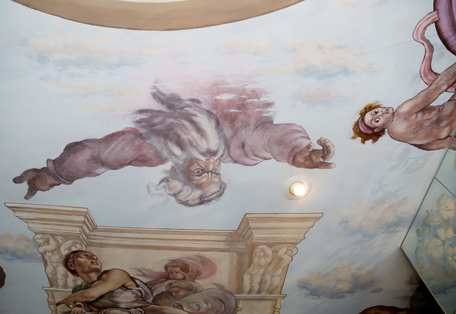Liberace commissioned a ceiling mural in the master bedroom and bath. The bedroom's mural depicts the Sistine Chapel. It reportedly took two years for Stefano Angelo Falk, a descendant of Michel ...