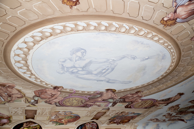 Liberace had commissioned a ceiling mural depicting the Sistine Chapelin the master bedroom and bath. (Tonya Harvey/Real Estate Millions)