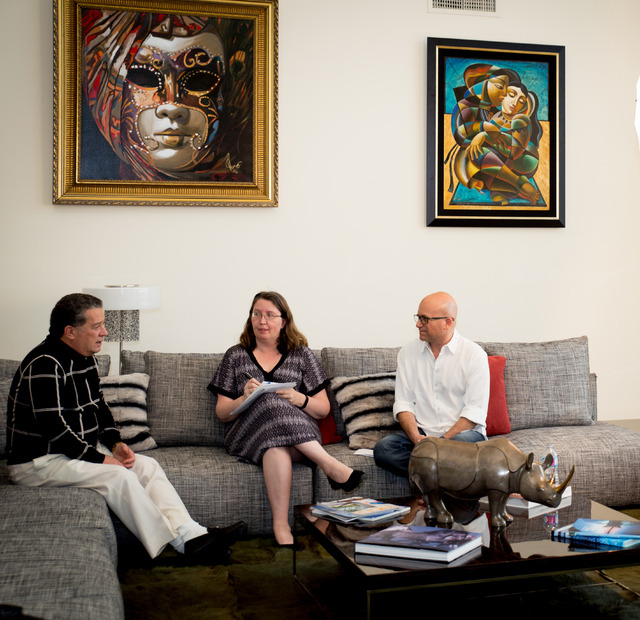 Writer Holly Devore talks to homeowner Mickey Gonzalez and his Realtor Ivan Sher about the $9 million MacDonald Highlands home. (TONYA HARVEY/REAL ESTATE MILLIONS)