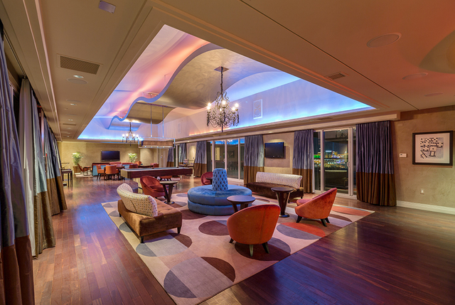 With floor-to-ceiling windows the second-level game room has views of the Strip. (COURTESY SHAPIRO & SHER GROUP)