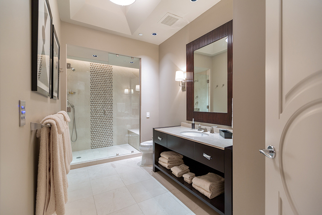 One of the home's nine baths. (COURTESY SHAPIRO & SHER GROUP)