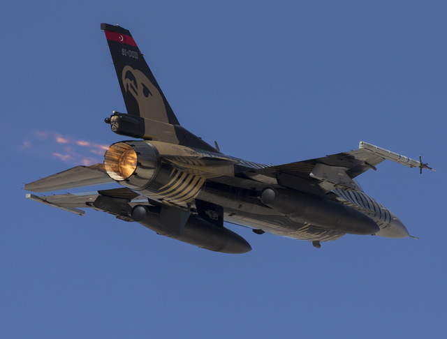 A Turkish Air Force F-16 takes off during the Red Flag air combat exercise at Nellis Air Force Base on Tuesday, March 8, 2016, in Las Vegas. Benjamin Hager/Las Vegas Review-Journal @benjaminhphoto