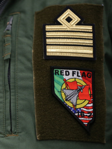 The Red Flag patch on Italian Air Force Col. Marco Bertoli's uniform during the Red Flag air combat exercise at Nellis Air Force Base on Tuesday, March 8, 2016, in Las Vegas. Benjamin Hager/Las Ve ...