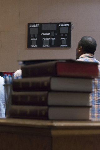 A stack of bibles sits in the temporary sanctuary/gymnasium at Calvary Chapel Spring Valley at 7175 W. Oquendo Road in Las Vegas Sunday, Feb. 28, 2016. Jason Ogulnik/Las Vegas Review-Journal