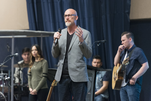 Senior Pastor Derek Neider speaks at Calvary Chapel Spring Valley at 7175 W. Oquendo Road in Las Vegas Sunday, Feb. 28, 2016. Jason Ogulnik/Las Vegas Review-Journal