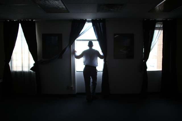 Freddy Duarte looks out the window at the Hope For Prisoners office in Las Vegas Thursday, March 10, 2016. Rachel Aston/Las Vegas Review-Journal Follow @rookie__rae