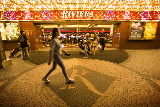 People walk in front of the Riviera hotel-casino, 2901 South Las Vegas Boulevard on Monday, April 20, 2015. Jeff Scheid/Las Vegas Review-Journal) Follow Jeff Scheid on Twitter @jlscheid