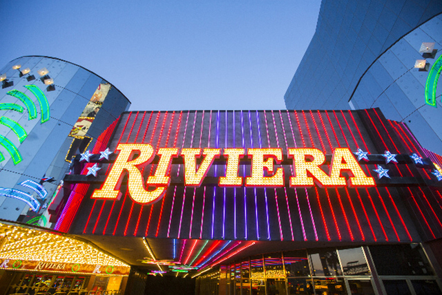 Exterior lights as seen Monday, April 20,2015  at the Riviera hotel-casino, 2901 South Las Vegas Boulevard. Jeff Scheid/Las Vegas Review-Journal) Follow Jeff Scheid on Twitter @jlscheid