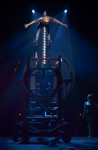 """Jan Rouven appears to be pierced by a giant drill during """"Illusions"""" at the Tropicana hotel-casino at 3801 Las Vegas Blvd. S. in Las Vegas on Wednesday, March 11, 2015. (Bill Hug ..."""