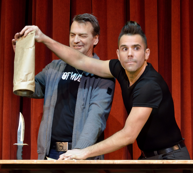 """Jan Rouven, right, performs with some help from audience member Keith Harris during """"Illusions"""" at the Tropicana hotel-casino at 3801 Las Vegas Blvd. S. in Las Vegas on Wednesday ..."""