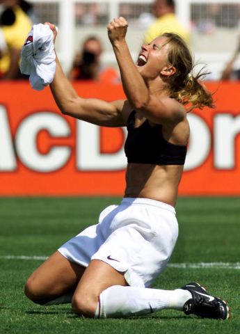 United States midfielder Brandi Chastain celebrates her winning penalty kick to defeat China 5-4 at the Women's World Cup soccer final between the two countries July 10 at the Rose Bowl. (Reuters  ...