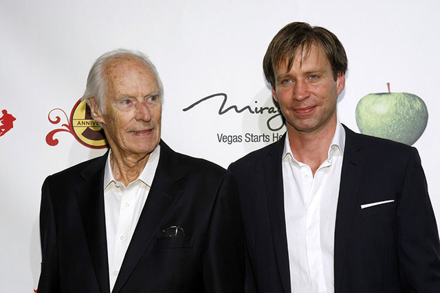 """Music producers Sir George Martin (L) and Giles Martin arrive for the fifth anniversary celebration of """"The Beatles LOVE by Cirque du Soleil"""" show at the Mirage Hotel and Casino in Las Vegas, Neva ..."""