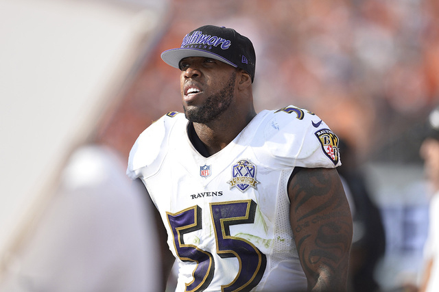 Sep 13, 2015; Denver, CO, USA; Baltimore Ravens outside linebacker Terrell Suggs (55) leaves the field due to injury in the fourth quarter against the Denver Broncos at Sports Authority Field at M ...