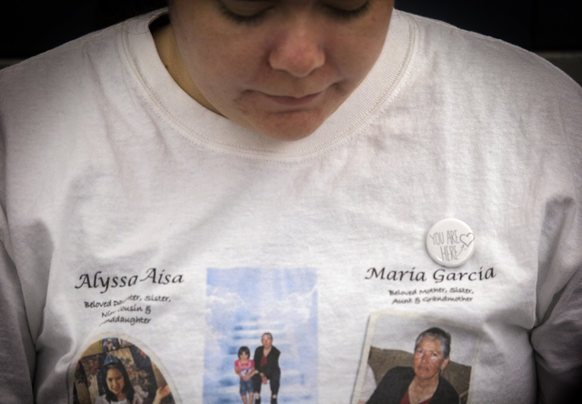 Elyssa Aisa, mother of Alyssa Aisa, and daughter of Maria Garcia, sits in court during the sentencing of Leonardo Ruesga at Regional Justice Center on Thursday, March 3, 2016. Ruesga pleaded guilt ...