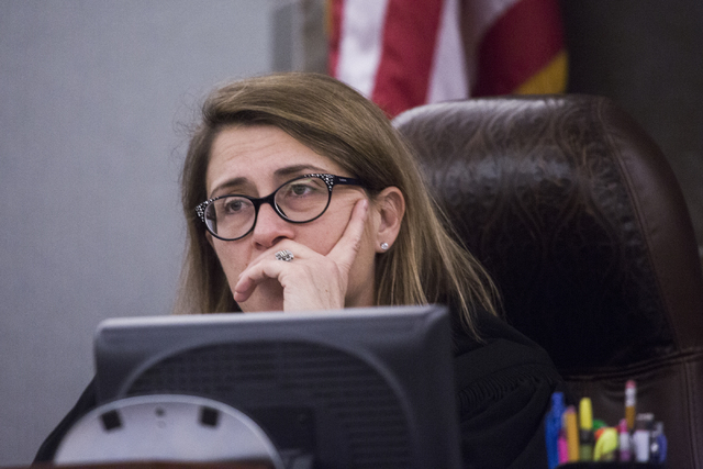 District Judge Jennifer Togliatti listens while the daughter of Maria Garcia makes a victims statement during the sentencing of Leonardo Ruesga,  at Regional Justice Center on Thursday, March 3, 2 ...