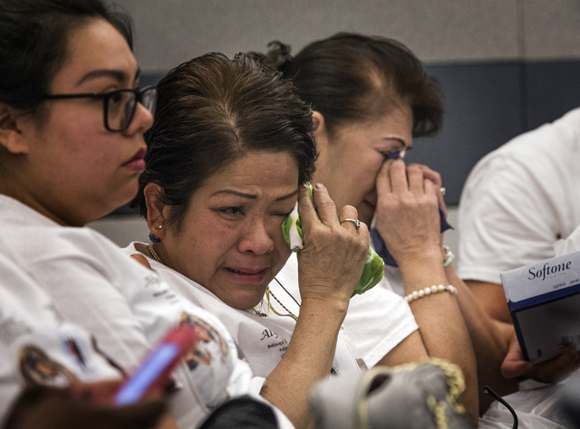 Friends and family members of Maria Garcia and her granddaughter Alyssa Aisa, cry court during the sentencing of Leonardo Ruesga at Regional Justice Center on Thursday, March 3, 2016. Ruesga plead ...