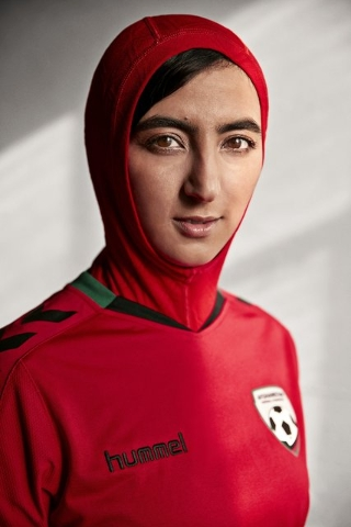 Danish sportswear brand Hummel has unveiled its new jersey for the Afghanistan national soccer team, complete with a hijab for female players. (Courtesy Hummel International/CNN)