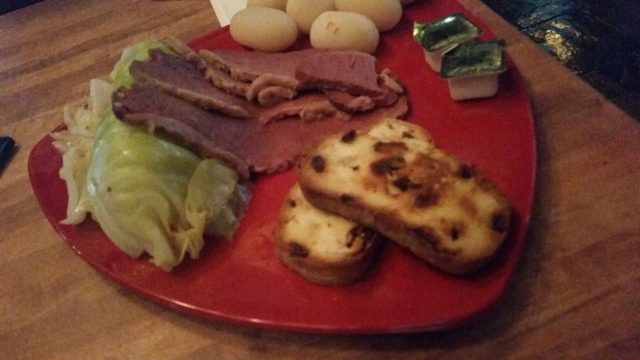 Corned beef and cabbage with Irish soda bread from Great Buns Bakery is shown at Sean Patrick's. Lisa Valentine/View