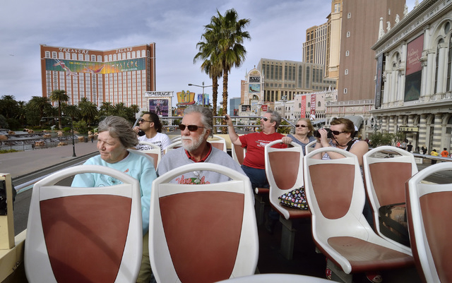 Passengers are shown on a double-decker bus during a Big Bus tour of the Strip in Las Vegas on Wednesday, March 9, 2016. Bill Hughes/Las Vegas Review-Journal