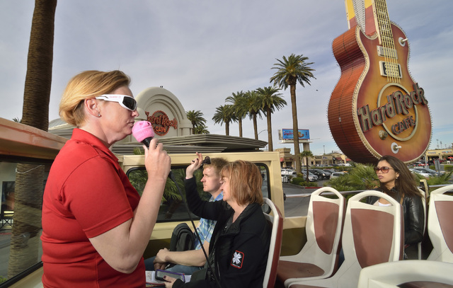Tour guide Jessica Dotterer, left, talks about the sights during a Big Bus tour in Las Vegas on Wednesday, March 9, 2016. Bill Hughes/Las Vegas Review-Journal