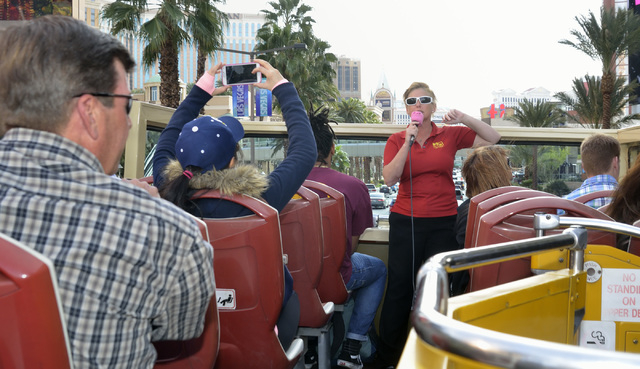 Tour guide Jessica Dotterer talks about the sights during a Big Bus tour of the Strip in Las Vegas on Wednesday, March 9, 2016. Bill Hughes/Las Vegas Review-Journal