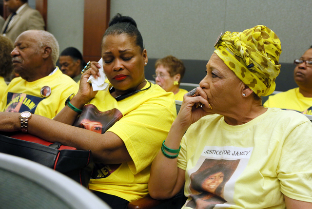 Suziliene McDonald, left, family friend of the Walkers, and Sheila Robertson, cousin of Jamey Walker, attend the sentencing of Willie Shannon at Regional Justice Center Thursday, March 10, 2016, i ...