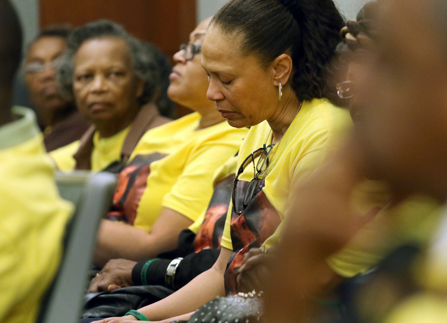 Rachelle Jackson, a friend of Jamey Walker, attends the sentencing of Willie Shannon at Regional Justice Center Thursday, March 10, 2016, in Las Vegas. Shannon was sentenced to 15 years for the 19 ...