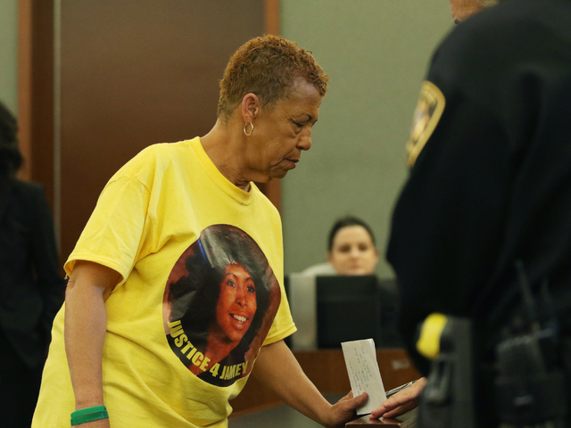 Yolanda Walker, the aunt of Jamey Walker, returns to her seat after speaking at the sentencing of Willie Shannon at Regional Justice Center Thursday, March 10, 2016, in Las Vegas. Shannon was sent ...