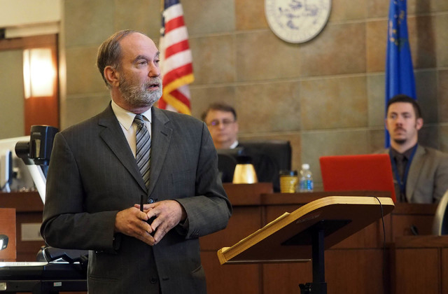 Defense attorney Arnold Weinstock speaks to the jury during opening statements in the trial of Robert Sharpe III at the Regional Justice Center in Las Vegas, Monday, Feb. 7, 2016. Jerry Henkel/Las ...