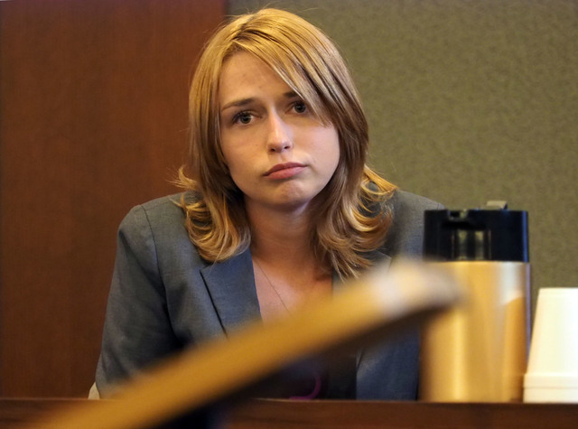 Autumn Richards testifies at the trial of Robert Sharpe III, at the Regional Justice Center in Las Vegas, Monday, Feb. 7, 2016. Jerry Henkel/Las Vegas Review-Journal.