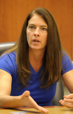 Shelly Shelton, candidate for Assembly District 10, speaks with the Review-Journal editorial board on Wednesday, July 9, 2014. (Mark Damon/Las Vegas Review-Journal)