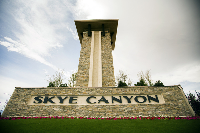 The entrance to Skye Canyon, the city's newest master plan, is seen on Monday, March 21, 2016.Jeff Scheid/Las Vegas Review-Journal Follow @jlscheid