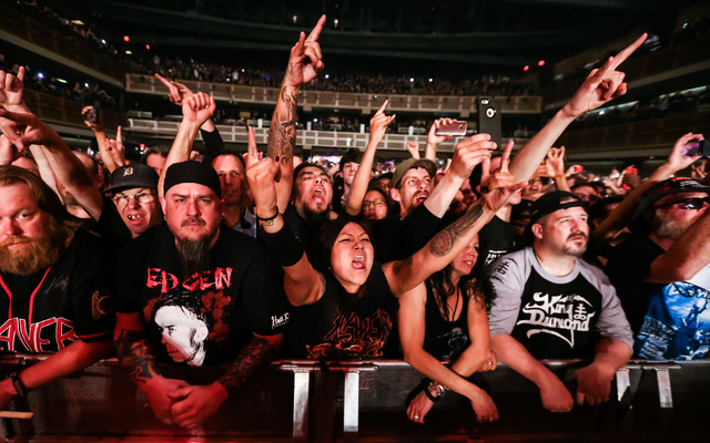 Fans cheer as Slayer performs at The Joint at the Hard Rock Hotel in Las Vegas on Saturday, March 26, 2016. Chase Stevens/Las Vegas Review-Journal Follow @csstevensphoto