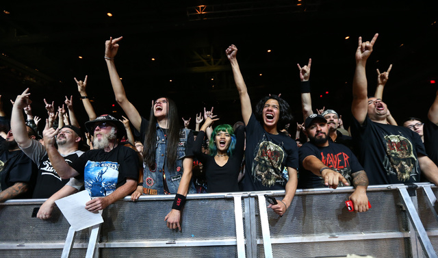 Fans cheer as Testament performs at The Joint at the Hard Rock Hotel in Las Vegas on Saturday, March 26, 2016. Chase Stevens/Las Vegas Review-Journal Follow @csstevensphoto