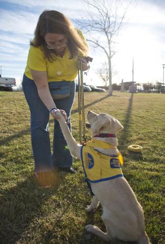Cindy Thompson works with Tulip at the Kellogg-Zaher Sports Complex March 1. Daniel Clark/View