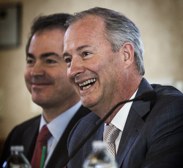 Steve Hill, right, chairman of the Southern Nevada Tourism Infrastructure Committee, and Len Jessup, president of UNLV, during a board meeting on the proposed new stadium at UNLV on Thursday, Marc ...