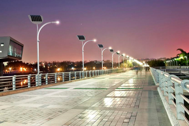 COURTESY PHOTO The city of Las Vegas is partnering with New York-based EnGoPLANET on a May installation of four kinetic and solar energy streetlights, such as these, at Boulder Plaza at the Arts D ...