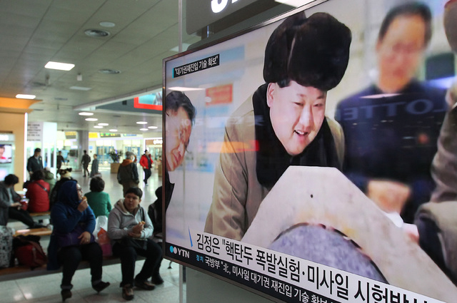 A TV screen shows North Korean leader Kim Jong Un during a news program, at Seoul Railway Station in Seoul, South Korea, Tuesday, March 15, 2016. (AP Photo/Ahn Young-joon)