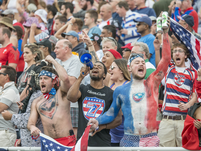 Fans cheer during the United States-South Africa match in the USA Sevens rugby tournament at Sam Boyd Stadium in Las Vegas on Saturday, March 5, 2016. Jacob Kepler/Las Vegas Review-Journal