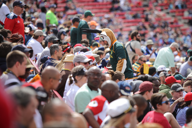 A South Africa fan dressed as a Springbok walks up the stairs of Sam Boyd Stadium during final day of the HSBC World Rugby Sevens Series on Sunday, March 6, 2016. Brett Le Blanc/Las Vegas Review-J ...